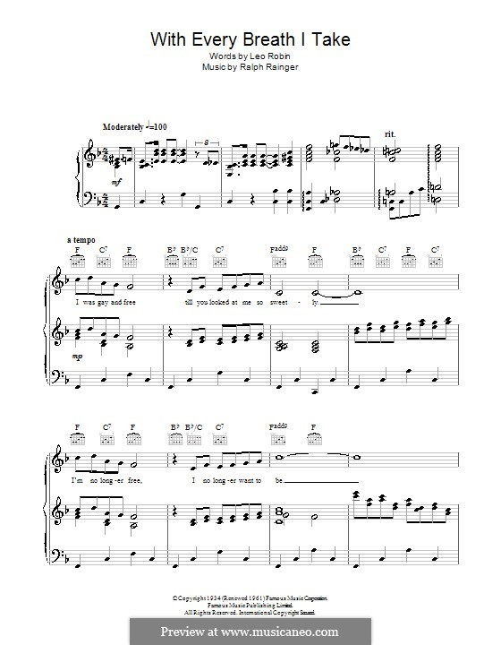 With Every Breath I Take: For voice and piano (or guitar) by Ralph Rainger