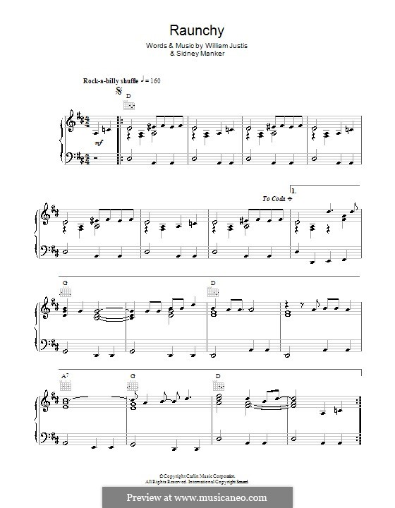 Raunchy: For piano by Sidney Manker, William Justis