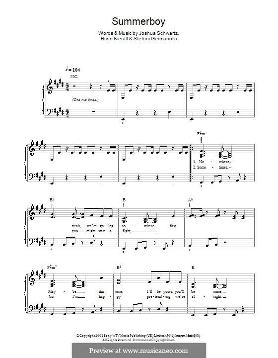 Summerboy (Lady Gaga): For easy piano by Brian Kierulf, Joshua Schwartz, Stefani Germanotta