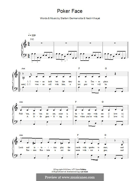 Poker Face (Lady Gaga): For easy piano by RedOne, Stefani Germanotta