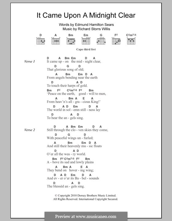 It Came upon the Midnight Clear: Lyrics and chords by Richard Storrs Willis