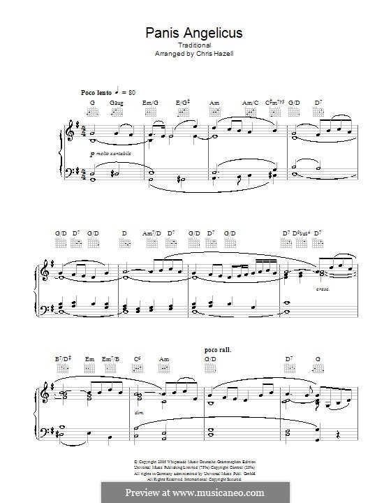 Panis Angelicus (O Lord Most Holy), Printable Scores: For voice and piano or guitar (G Major) by César Franck