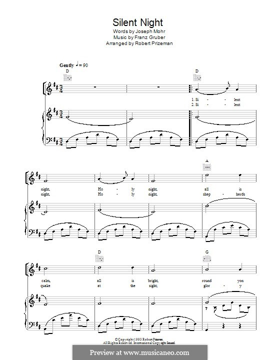 Silent Night (Printable): For voice and piano or guitar (D Major) by Franz Xaver Gruber