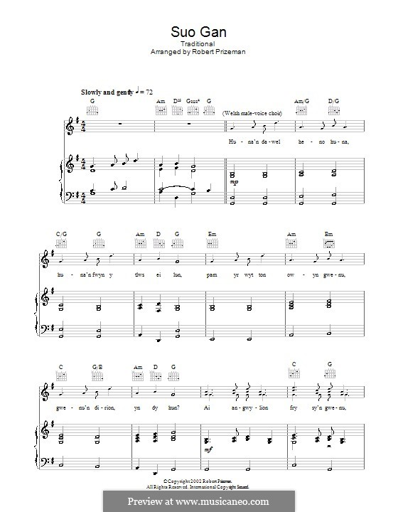 Suo Gan: For voice and piano (or guitar) by folklore