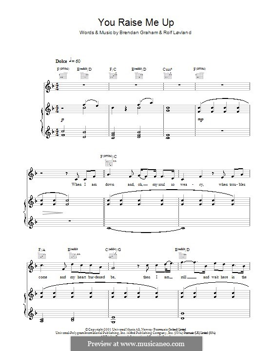 You Raise Me Up: For voice and piano or guitar (F Major) by Brendan Graham, Rolf Løvland