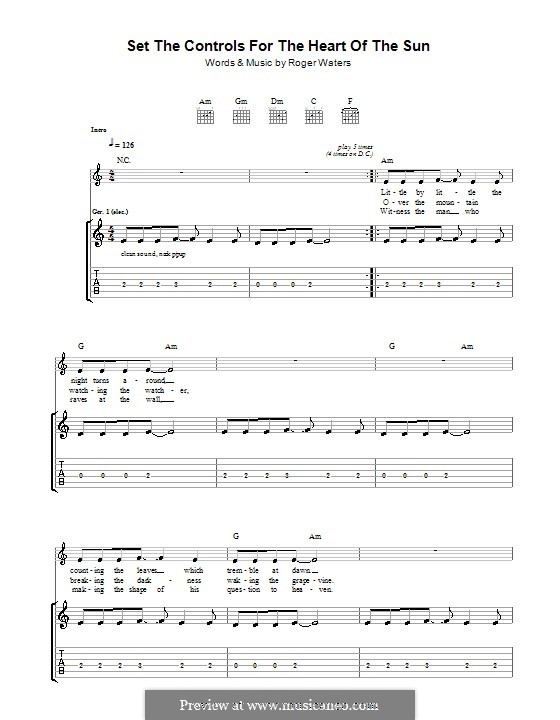 Set the Controls for the Heart of the Sun (Pink Floyd): For guitar with tab by Roger Waters