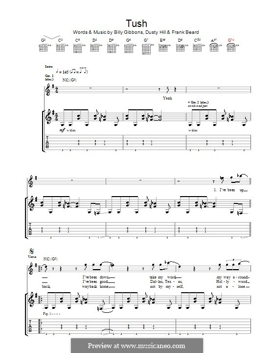 Tush (ZZ Top): For guitar with tab by Billy F Gibbons, Dusty Hill, Frank Lee Beard