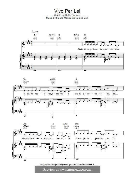 Vivo Per Lei (Andrea Bocelli): For voice and piano (or guitar) by Mauro Mengali, Valerio Zelli