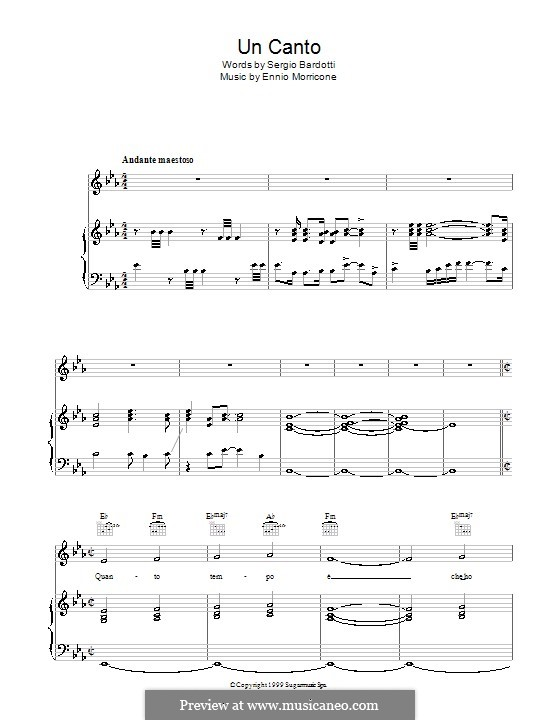 Un Canto: For voice and piano (or guitar) by Ennio Morricone