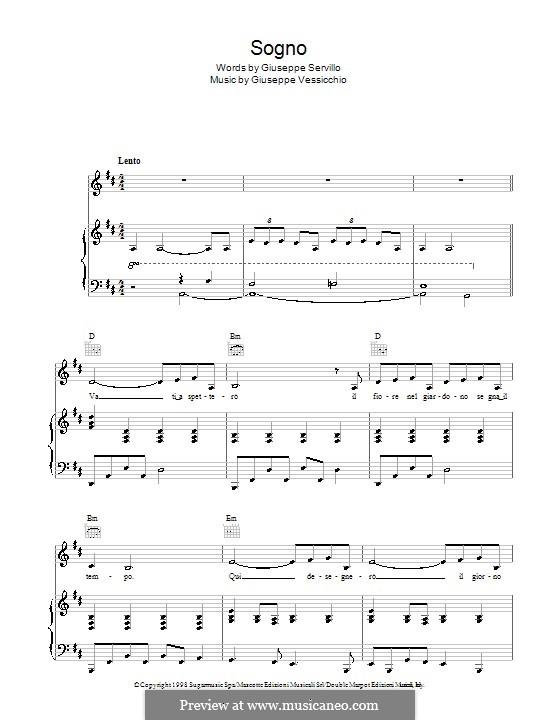 Sogno (Andrea Bocelli): For voice and piano (or guitar) by Giuseppe Vessicchio