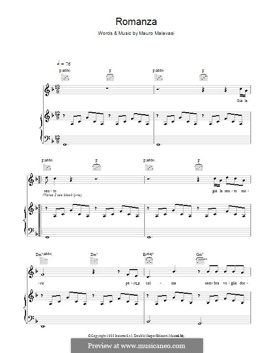 Romanza (Romance): For voice and piano (or guitar) by Mauro Malavasi