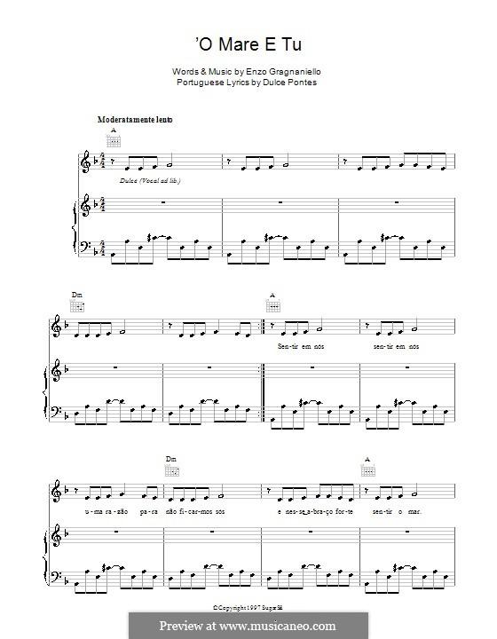 'O mare e tu (Andrea Bocelli): For voice and piano by Enzo Gragnaniello