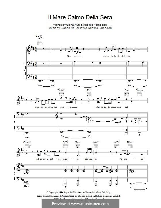 Il mare calmo della sera (Andrea Bocelli): For voice and piano by Adelmo Fornaciari, Gianpietro Felisatti