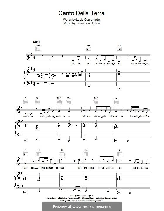 Canto della terra: For voice and piano or guitar (Andrea Bocelli) by Francesco Sartori