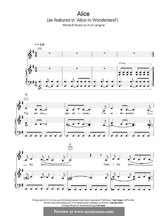 Alice: For voice and piano (or guitar) by Avril Lavigne