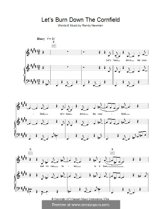 Let's Burn Down the Cornfield: For voice and piano (or guitar) by Randy Newman