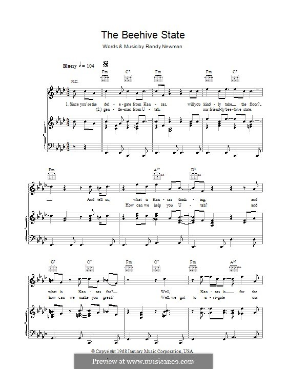 The Beehive State: For voice and piano (or guitar) by Randy Newman
