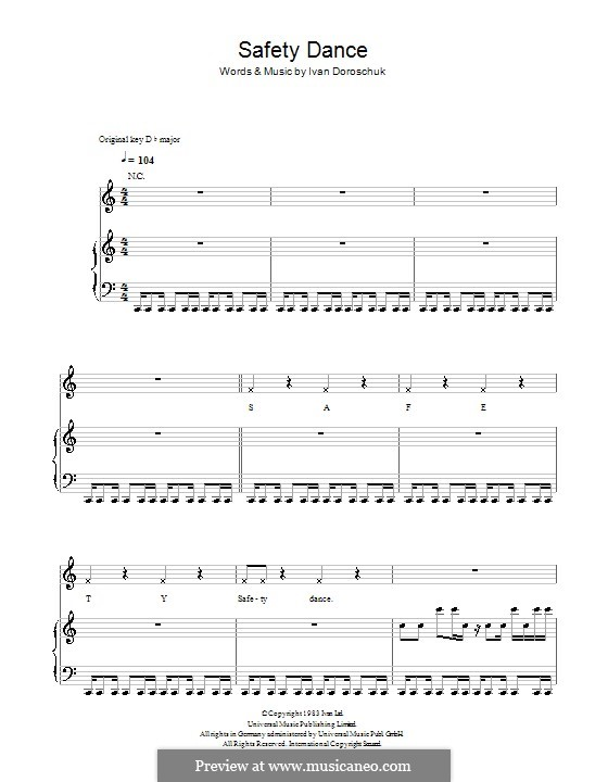 The Safety Dance: For voice and piano or guitar (Glee Cast) by Ivan Doroschuk
