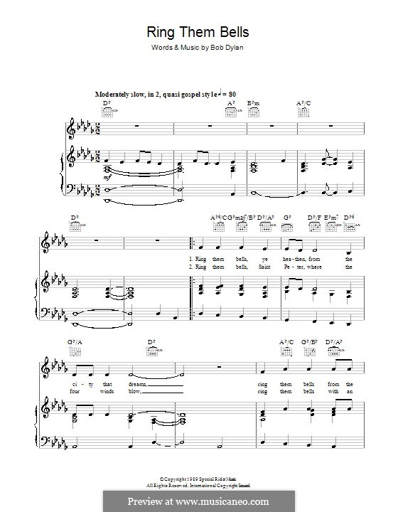 Ring Them Bells: For voice and piano (or guitar) by Bob Dylan