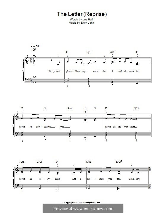 The Letter. Reprise: For easy piano by Elton John