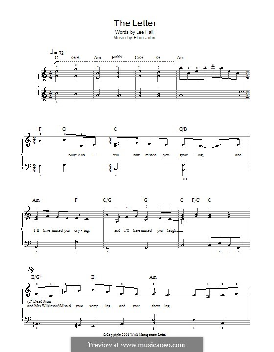 The Letter: For easy piano by Elton John