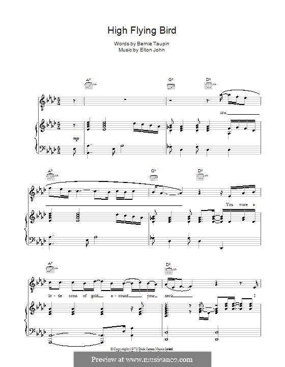 High Flying Bird: For voice and piano (or guitar) by Elton John