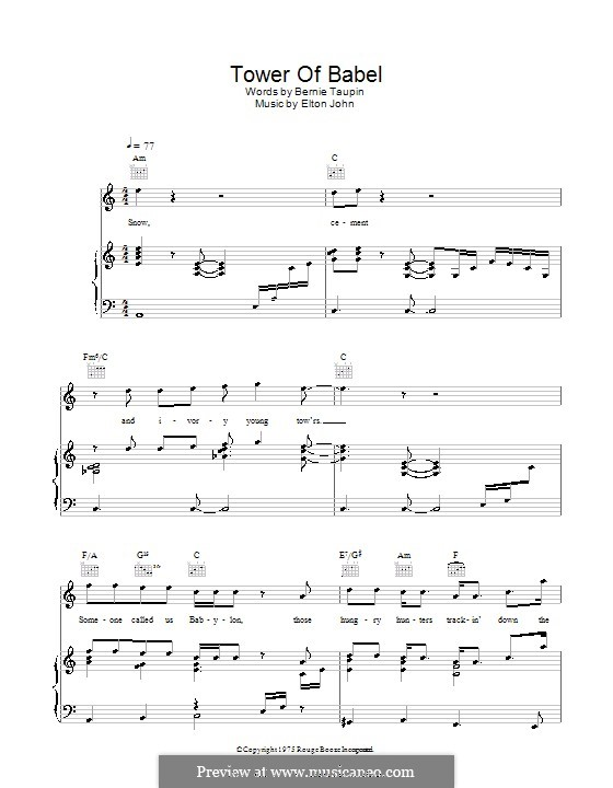Tower of Babel: For voice and piano (or guitar) by Elton John