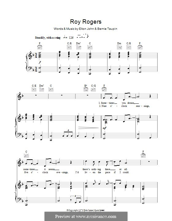 Roy Rogers: For voice and piano (or guitar) by Elton John