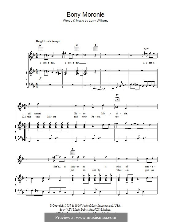 Bony Moronie: For voice and piano (or guitar) by Larry E. Williams