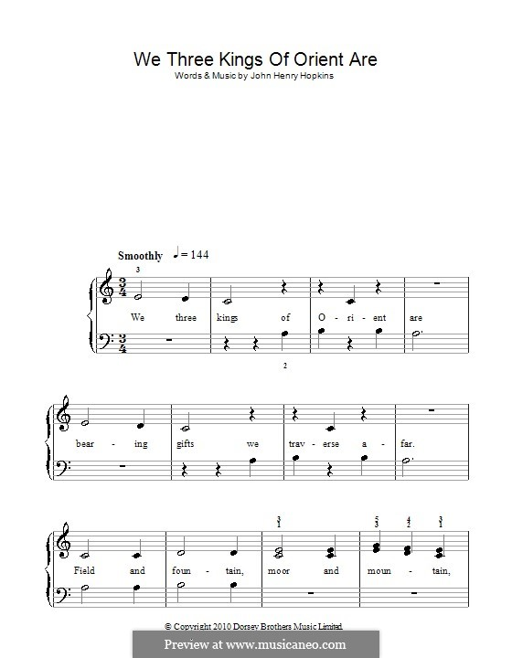 We Three Kings of Orient are, for Piano: Version for easy piano (A Minor) by John H. Hopkins Jr.