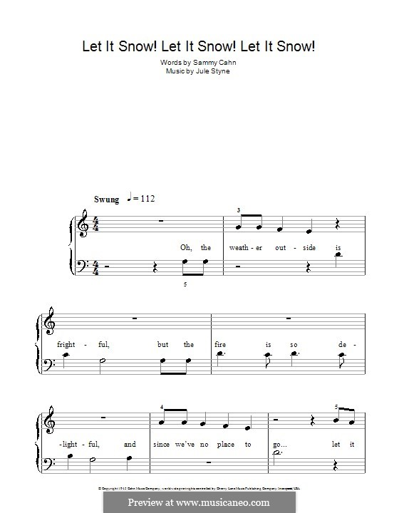 Let It Snow! Let It Snow! Let It Snow!, for Piano: With lyrics by Jule Styne