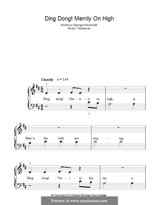 Ding Dong! Merrily on High (Printable Scores): For easy piano by folklore