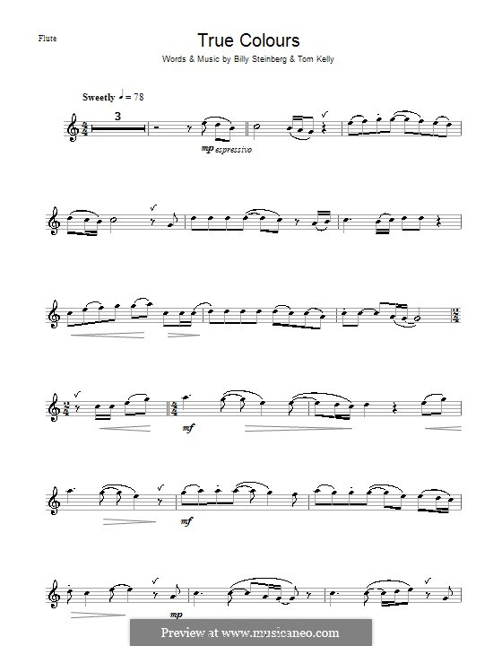 True Colors: For flute by Billy Steinberg, Tom Kelly