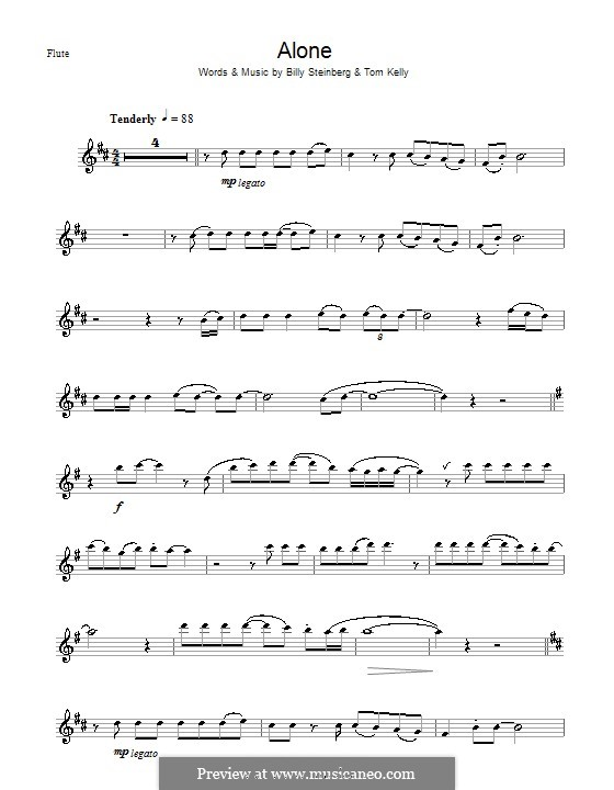 Alone: For flute (Heart) by Billy Steinberg, Tom Kelly