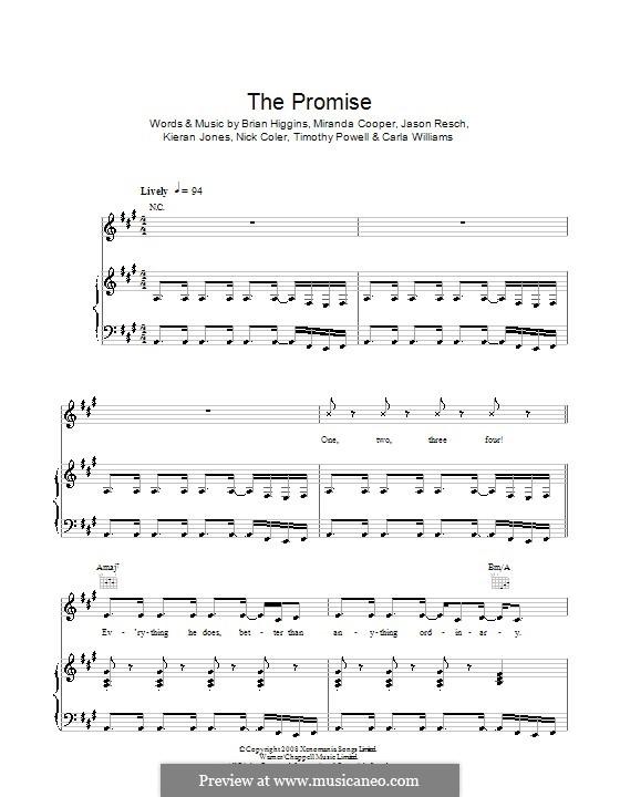 The Promise (Girls Aloud): For voice and piano (or guitar) by Brian Higgins, Carla Williams, Jason Resch, Kieran Jones, Miranda Cooper, Nicholas Coler, Tim Powell