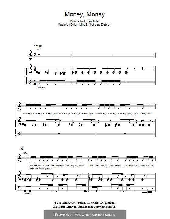Money, Money (Dizzee Rascal): For voice and piano (or guitar) by Dylan Mills, Nicholas Detnon