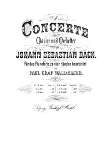Concertos for Keybord and Orchestra, BWV 1052-1056, 1058: Arrangement for piano four hands by Johann Sebastian Bach
