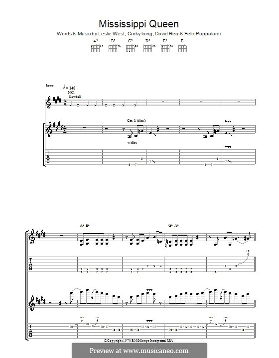 Mississippi Queen (Mountain): For guitar with tab by Corky Laing, David Rea, Felix Pappalardi, Leslie West