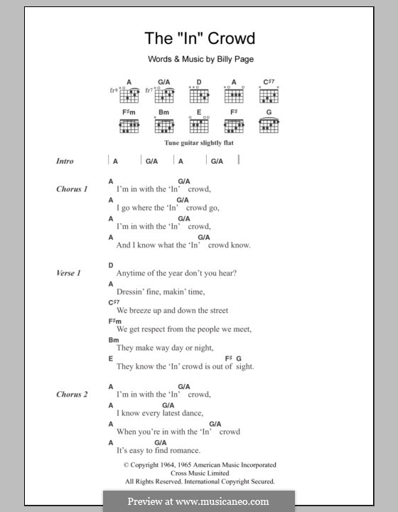 The In Crowd By B Page Sheet Music On Musicaneo