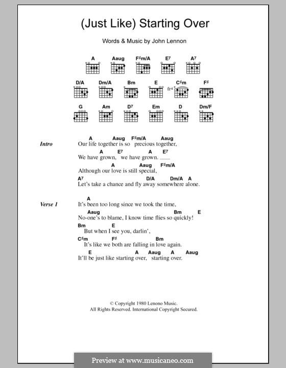 (Just Like) Starting Over: Lyrics and chords by John Lennon