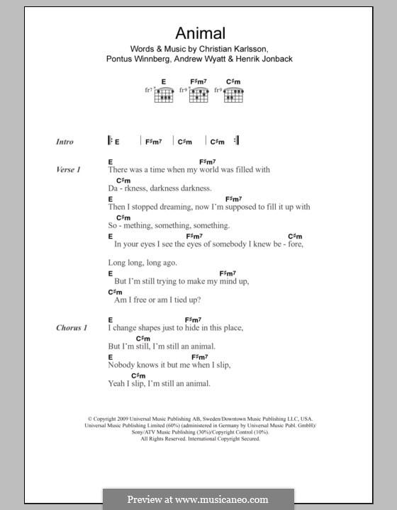 Animal (Miike Snow): Lyrics and chords by Andrew Wyatt, Christian Karlsson, Henrik Jonback, Pontus Winnberg