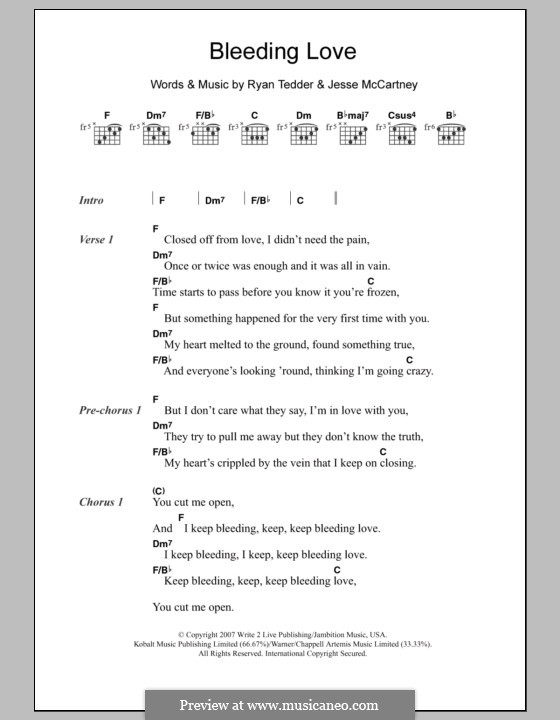 Bleeding Love (Leona Lewis): Lyrics and chords by Jesse McCartney, Ryan B Tedder