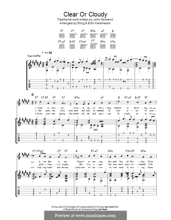 Clear or Cloudy: For guitar by John Dowland