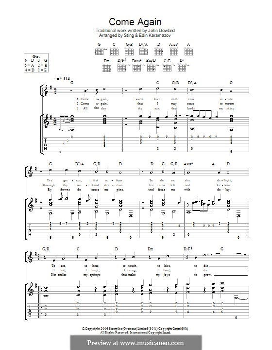 Come Again: For guitar by John Dowland