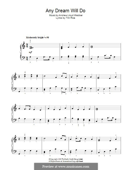 Any Dream Will Do: For easy piano (with fingering) by Andrew Lloyd Webber