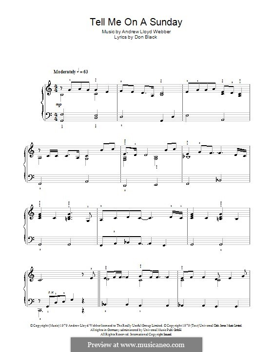 Tell Me on a Sunday: For easy piano by Andrew Lloyd Webber