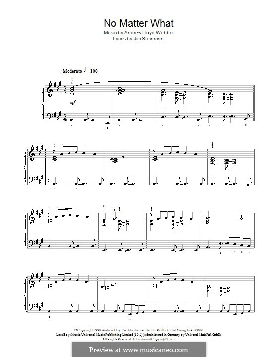 No Matter What (from Whistle Down the Wind): For easy piano (with fingering) by Andrew Lloyd Webber
