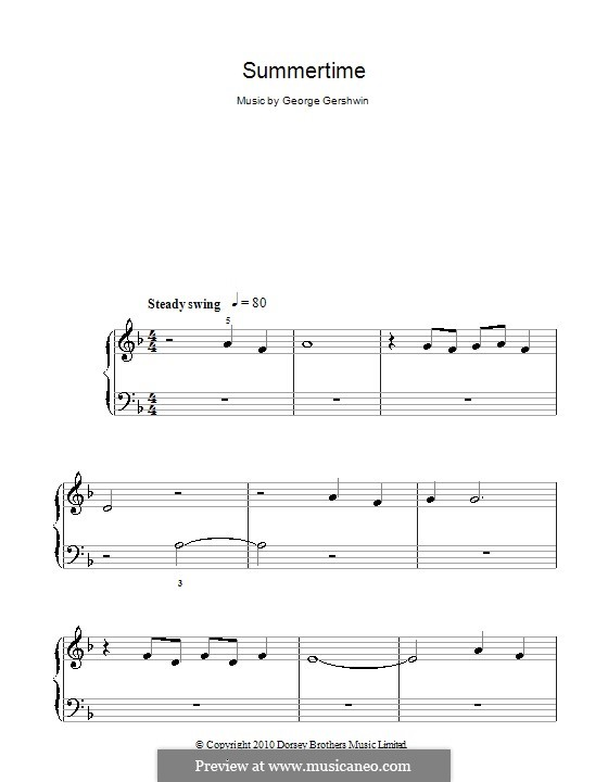 Summertime, for Piano: Easy notes by George Gershwin