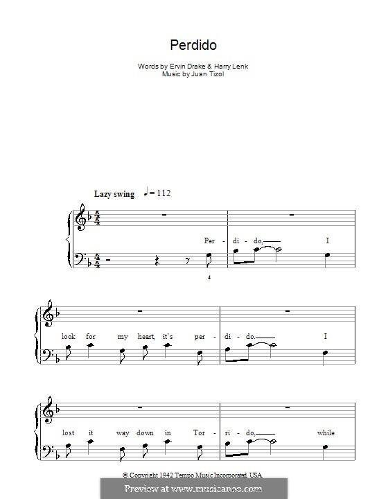 Perdido (Duke Ellington): For easy piano by Juan Tizol