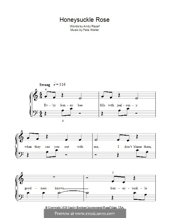 Honeysuckle Rose: For easy piano by Fats Waller